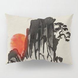 Japanese Mountain sunset - sumi-e Pillow Sham