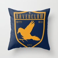 ravenclaw Throw Pillows featuring Ravenclaw Crest by machmigo