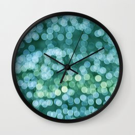 Light tree. Green bokeh Wall Clock