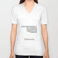oklahoma V-neck T-shirts featuring Oklahoma map by David Zydd