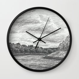 Riverscape, pencil drawing Wall Clock
