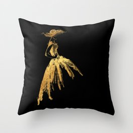 Black and gold retro fashion sketch Throw Pillow