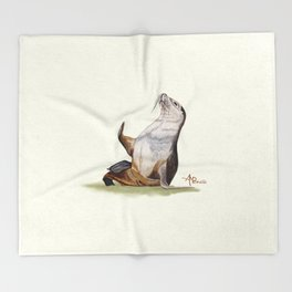 Sea Lion Watercolor Throw Blanket