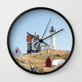 Nubble Light House At Christmas Wall Clock