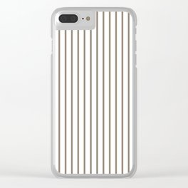 Mulch Brown Pinstripe on White Clear iPhone Case