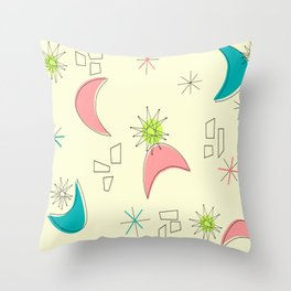 Boomerangs and Starbursts Yellow Throw Pillow