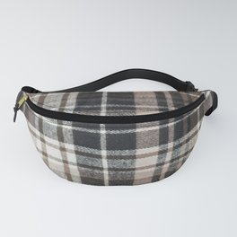 Plaid Fabric Print in Brown, Black, and White  Fanny Pack