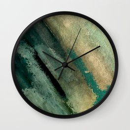 Green Thumb - an abstract mixed media piece in greens and blues Wall Clock