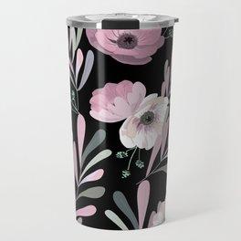 Anemones & Olives black Travel Mug