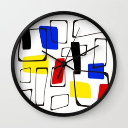 Eames Style Art Primary Colors Wall Clock