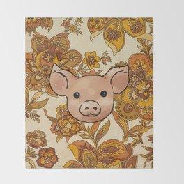Retro Floral Piggy Throw Blanket