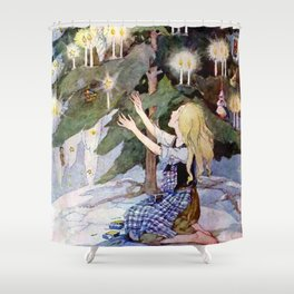 """The Little Match Girl"" Vintage Art by Anne Anderson Shower Curtain"