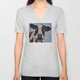 black and white cow Unisex V-Neck