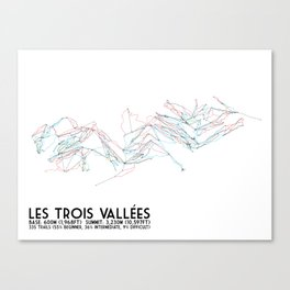 Les Trois Vallees, Savoie, France - European Colors - Minimalist Trail Art Canvas Print