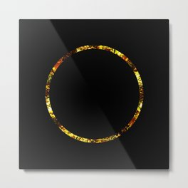 Golden Ring - Minimalistic, gold and black abstract art, metallic gold texture Metal Print