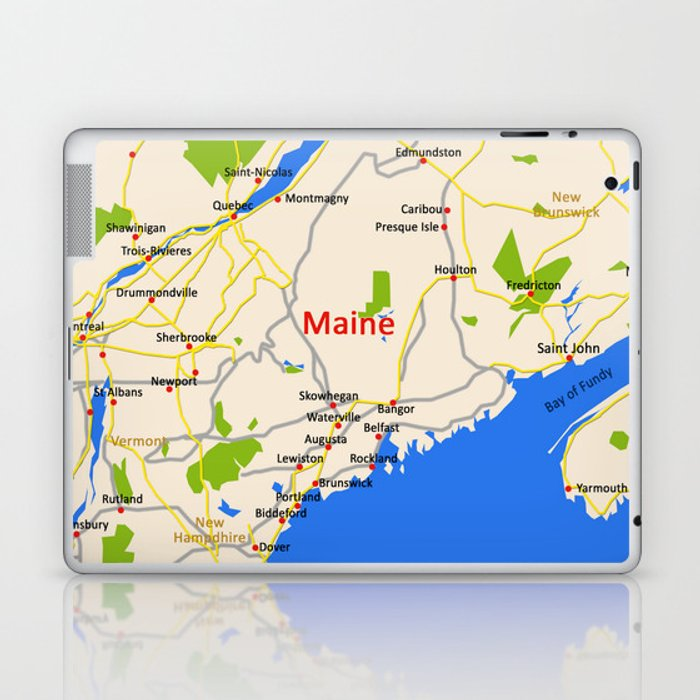Map of Maine state, USA Laptop & iPad Skin by efratul