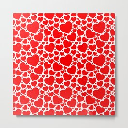 Red Hearts Pattern Metal Print