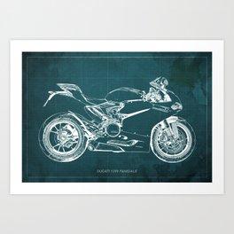 D Superbike 1299 Panigale 2015 green blueprint Art Print