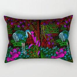 Asian Bamboo Garden in Black Velvet Watercolor Rectangular Pillow