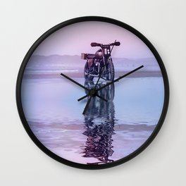 Where the Journey  begins Motorcycle at the Water Sunset Wall Clock