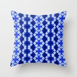 indigo shibori print Throw Pillow
