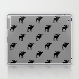 Bull Moose Silhouette - Black on Gray Laptop & iPad Skin