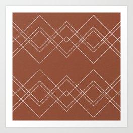 SKETCHED DIAMONDS BROWN Art Print