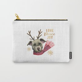 Christmas Reindeer Pit Bull with Faux Gold Snowflakes Carry-All Pouch