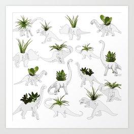 Dino and Cacti on White Kunstdrucke