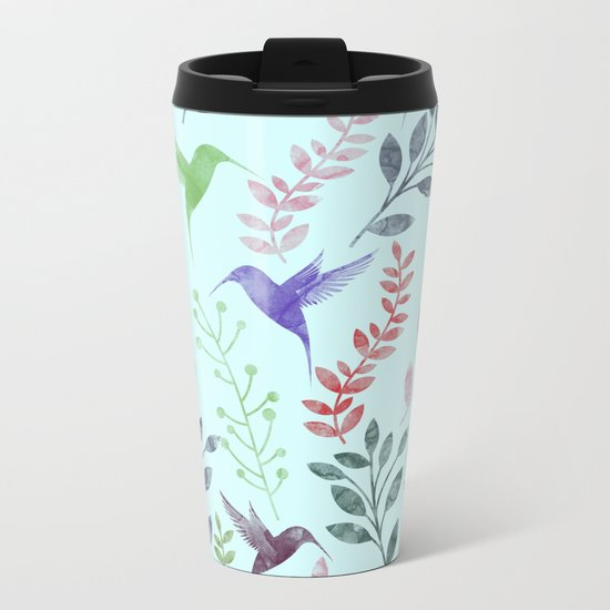 Watercolor Floral & Birds III Metal Travel Mug
