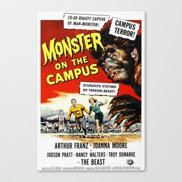 The Monster on the Campus, vintage horror movie poster Canvas Print
