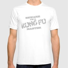 Beware I'm a Kung Fu Master MEDIUM White Mens Fitted Tee