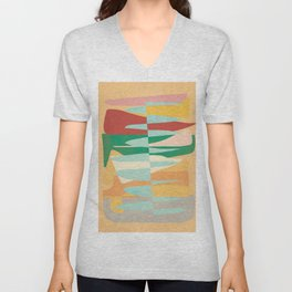 Abstract Vertical Waves Unisex V-Neck