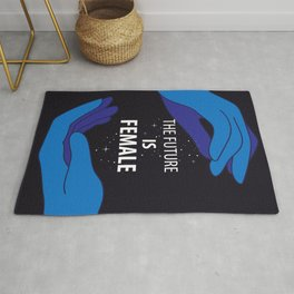 The Future is Female starry sky lettering with blue hands Rug