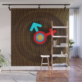 Illustration imitating a decorative clock with a mesh structure. Symbol of man and woman. Wall Mural