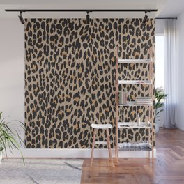 Animal Print, Spotted Leopard - Brown Black Wall Mural