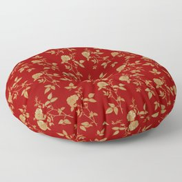 GOLDEN ROSE FLOWERS ON BURGUNDY Floor Pillow
