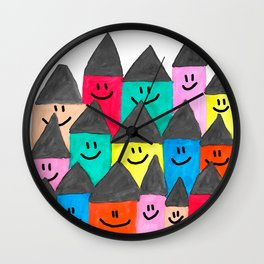 Happy faced houses Wall Clock