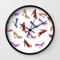 shoes Wall Clocks featuring Shoes by Paula J James