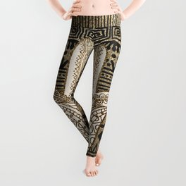 Native Pattern Golden Hamsa Hand Leggings