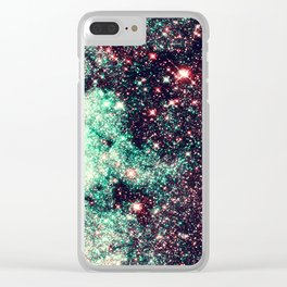 GaLaXy Stars Aqua Teal & Pink Clear iPhone Case