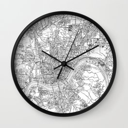 Vintage Map of Cincinnati Ohio (1915) BW Wall Clock