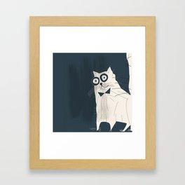 White Fashionable Cat Framed Art Print