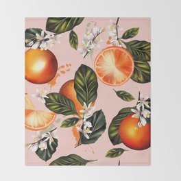 Citrus paradise. Tropical pattern with oranges Throw Blanket