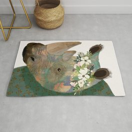 Rhino with flowers on head Rug