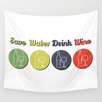 wine Wall Tapestries featuring wine by flydesign