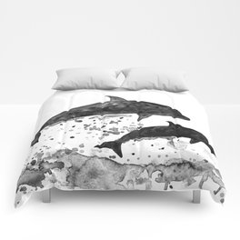 Dolphins, black and white Comforters