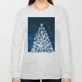 Blue Christmas Eve Snowflakes Winter Holiday Long Sleeve T-shirt