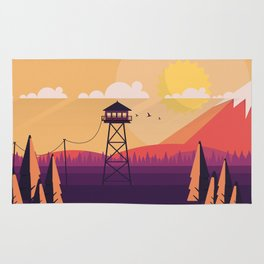 VECTOR ART LANDSCAPE WITH FIRE LOOKOUT TOWER Rug