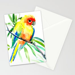 Sun Conure Parakeet, tropical yellow green bird decor Stationery Cards